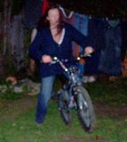 Mrs540 tries jumping on the bike