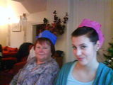 Mum and Kat in silly hats