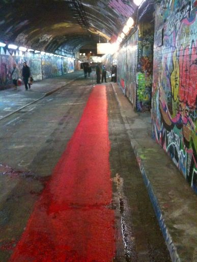 Red carpet (painted) for preview of Banksy film