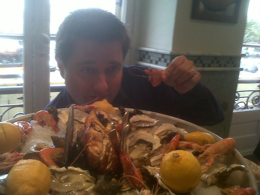 Still life with George Clarke and crustaceans