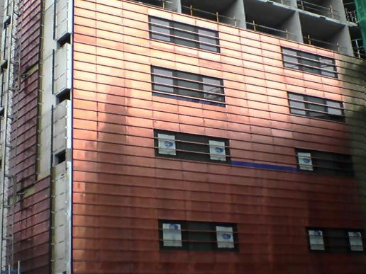 Shiny copper building