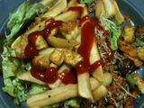 Salad nest topped with chips
