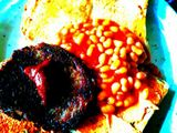 Tatty burger and beans on