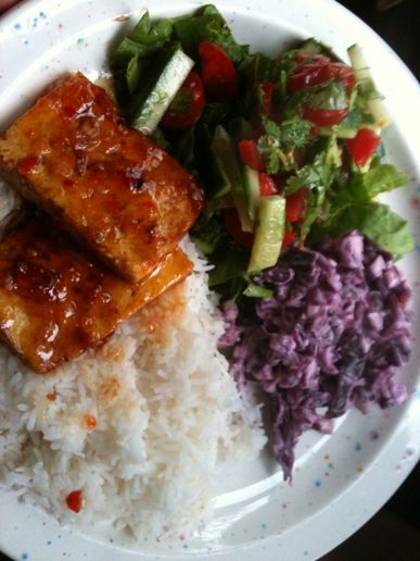 Tofu fillets, rice and salads