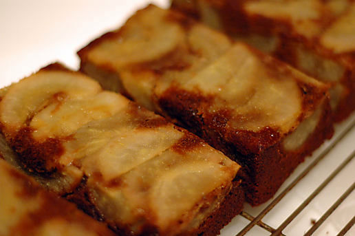 pear ginger upside down cakes.