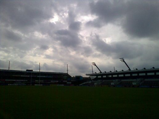 Cloudy skies over a deserted Cardiff Arms Park.