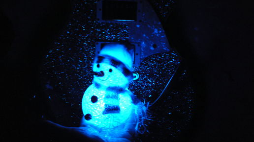 Glowing snowman, sparkling guitar