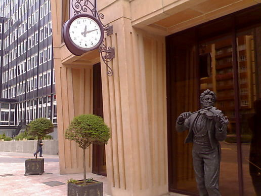 Spain: Violinist Statue at Oviedo's Principe Felipe Auditorium