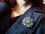 New suit-style denim jacket and brooch