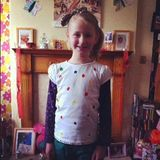 Ames decorated her T-shirt for Children in Need