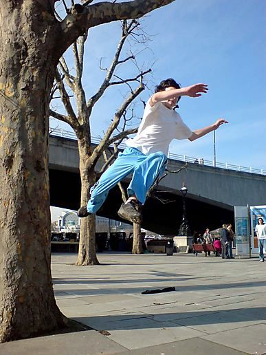 Parkour and Trick Biking on the South Bank... again...