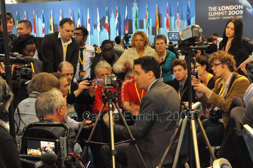 Ed Miliband visits the G20Voice desk
