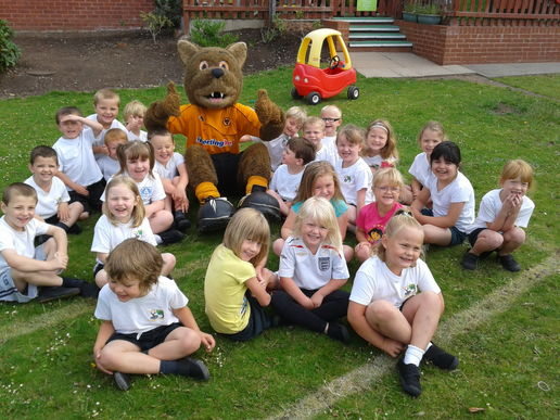 Wolfie's visit during national Schools' Sports Week