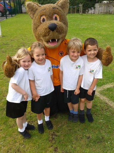 Wolfie's visit for National Schools' Sports Week