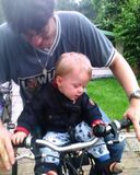 First time on the bike with daddy