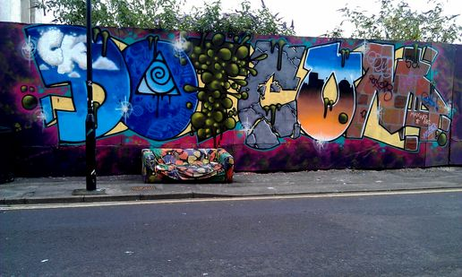 Dotcom with matching sofa bed #streetart in bristol