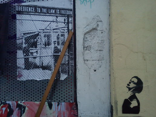 #signs obedience to the law is freedom #stencil #streetart noise in  bristol #political
