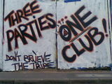 Three parties one club #streetart bristol