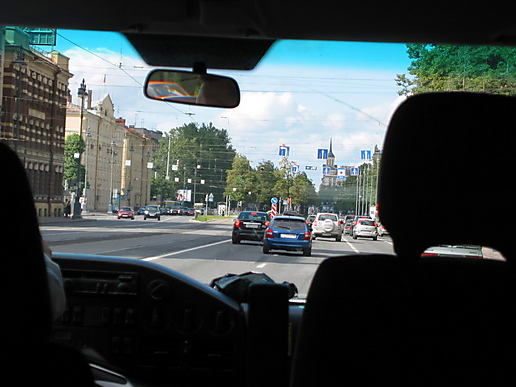 St Petersburg from the taxi