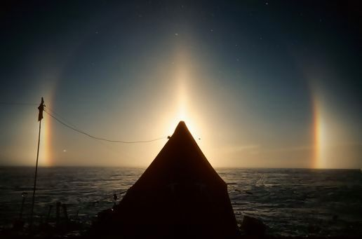 Sun pillar and sun dogs