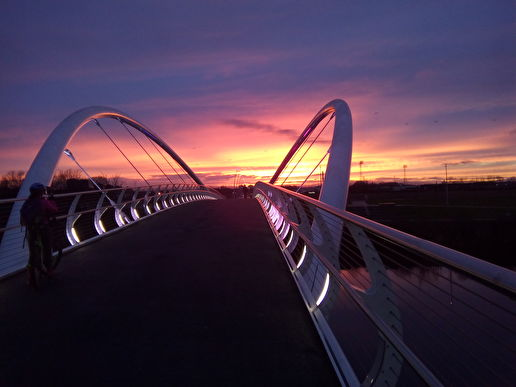 Shawfield - Dalmarnock Footbridge in the gloaming late this afto...