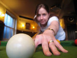 Kirsty playing pool