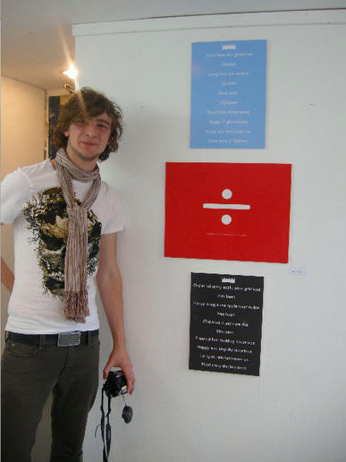 Alex with his work @ Avoid The Obvious, Leeds College of Art Foundation Final Show