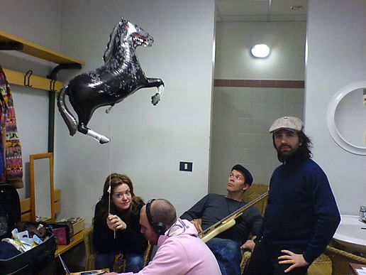 This is the horse arriving at the gig and being introduced to the band