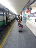 This is me and the horse arriving at Bologna station before heading off to the gig