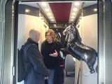 This is the horse getting involved in an in depth discussion with Will and one of our management on the train to Bologna
