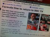Formula One to return to BBC TV