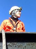 Greenpeace climber at the top of Didcot coal fired power station