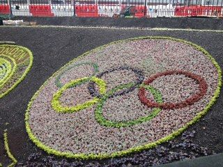Floral Olympic Rings with Tramworks Border
