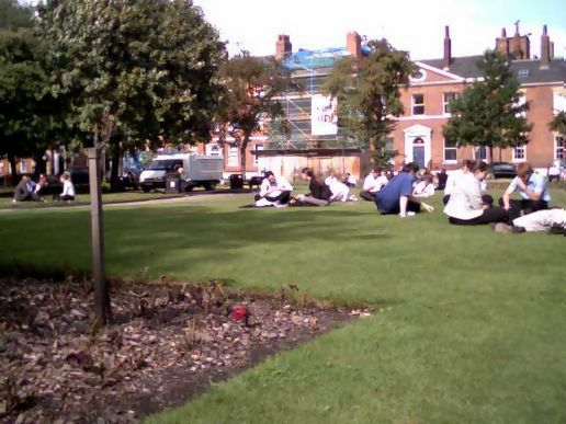 In the office, Park Square at lunchtime on a sunny day