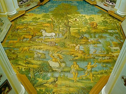 Majolica floor of the church of St Michele Arcangelo
