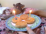 Birthday crumpets for Joe