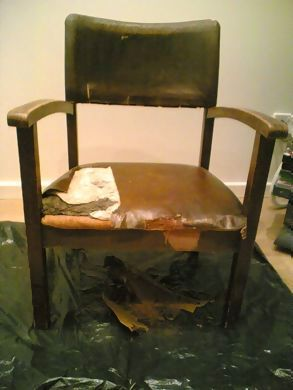 Salvaged oak chair, stripping the leatherette