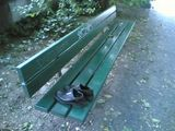 Perfectly good pair of shoes left on a park bench, Munich