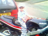 Nathan on uncle Lee's motorbike