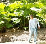 My lad with some big leaves...