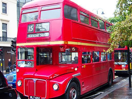 Old red bus in town???