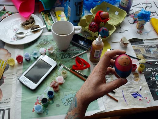 Painting Easter Eggs.