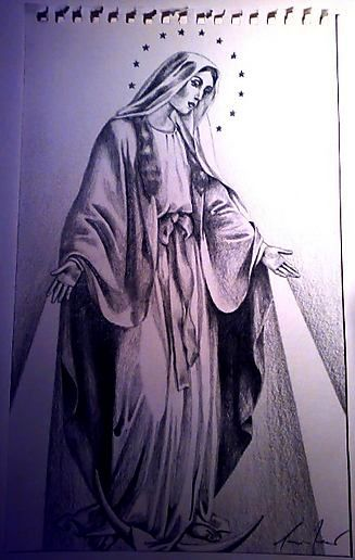 Virgin Mary. Pencil on paper.