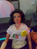 disturbingly micheal jackson looking barby in a coffe shop
