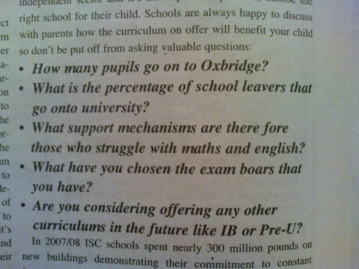 A great advert for private schools (not)