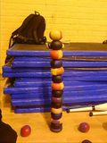 Free-standing tower of 15 juggling balls