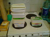 Two years' worth of margarine tubs
