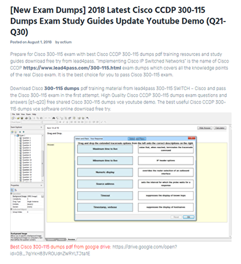 2018 Latest Cisco CCDP 300-115 Dumps Exam Study Guides Update