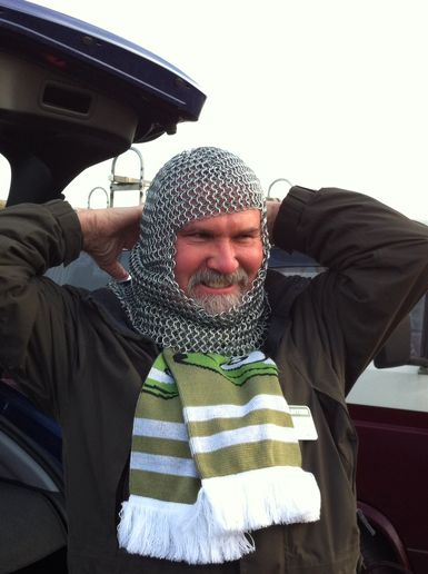 Man in a chainmail helmet!