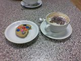 Large Capucino and a Smarties Cookie